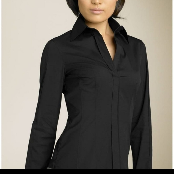 Hugo boss bashina black v-neck  collared blouse